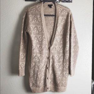 HALOGEN cream and metallic crochet cardigan small